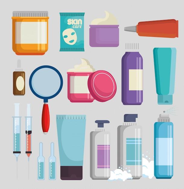 Набор продуктов кремов для лица Бесплатные векторы