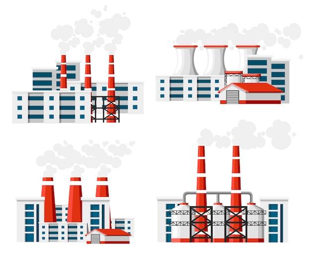 Набор заводов с дымовыми трубами. проблема загрязнения окружающей среды. земляной завод загрязняют углеродным газом. иллюстрация. иллюстрация на белом фоне. Premium векторы