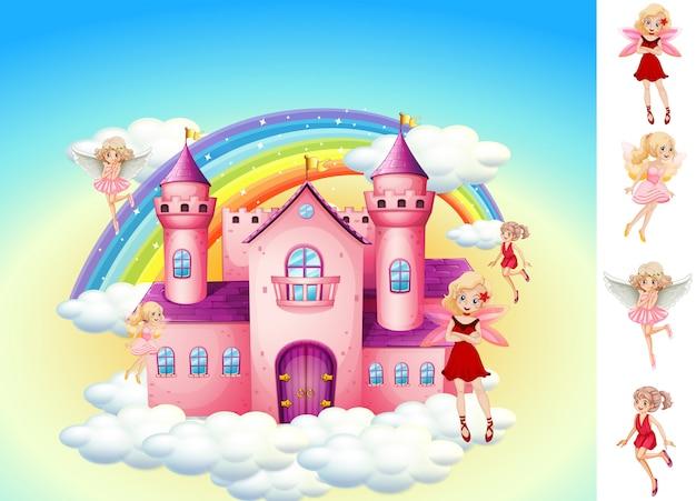 Набор фей в небесном замке Бесплатные векторы