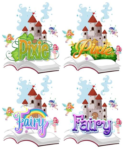 Набор феи и пикси логотипа с маленькими феями на белом фоне Бесплатные векторы
