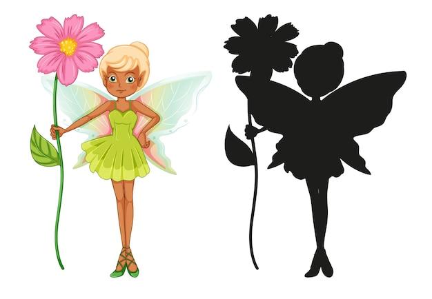 妖精のキャラクターとそのシルエットのセット 無料ベクター