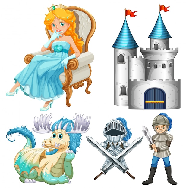 Set of fairy tales with knight and\ castle