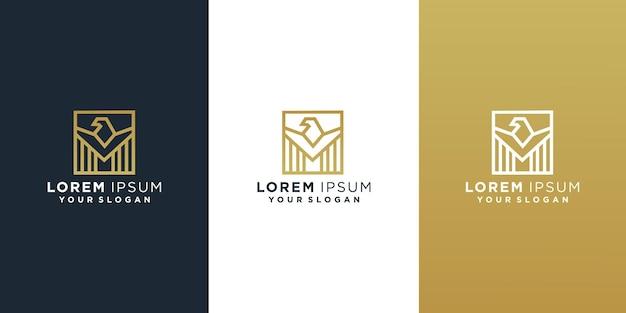 Набор шаблонов дизайна логотипа сокола Premium векторы