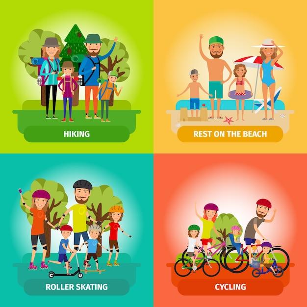 フラットスタイルの家族や健康的なライフスタイルのイラストのセットです。ローラーとビーチ、スケートとサイクリング、ハイキングとスポーツ。 無料ベクター