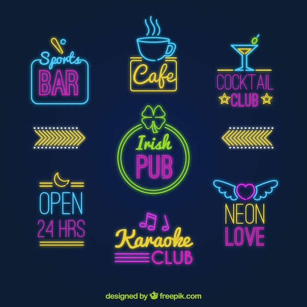 Set of fantastic neon light placards Free Vector