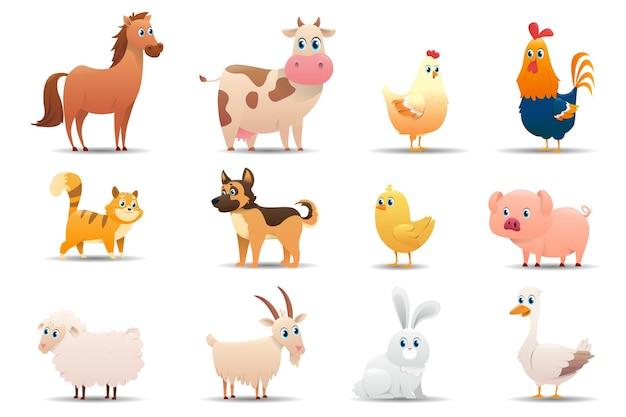 Набор сельскохозяйственных животных на белом фоне Premium векторы
