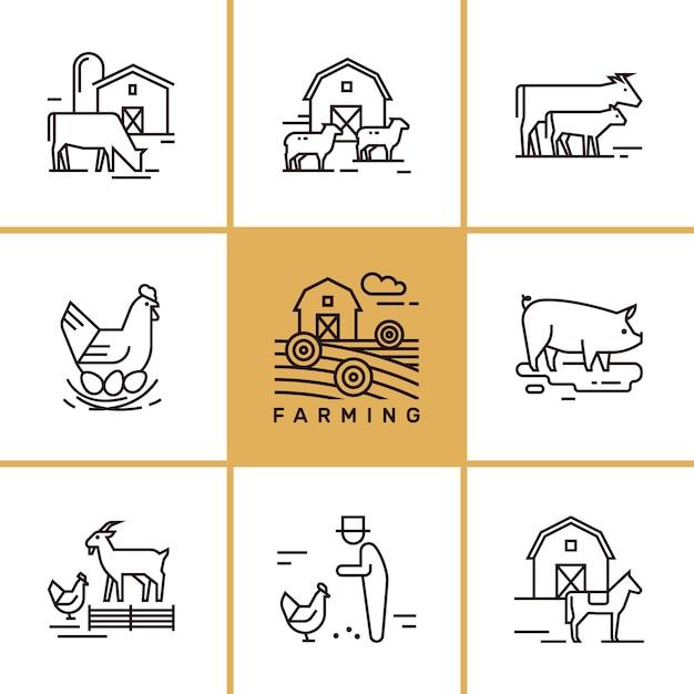 農業および農場の動物のクリップアートのセット Premiumベクター