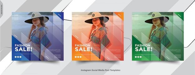 ファッションinsta投稿ソーシャルmedai投稿テンプレートデザインのセット Premiumベクター