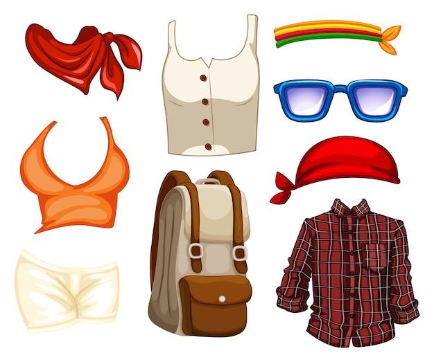 패션 의상 및 액세서리 세트 무료 벡터