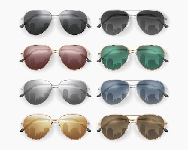 Набор модных солнцезащитных очков на белом фоне Premium векторы