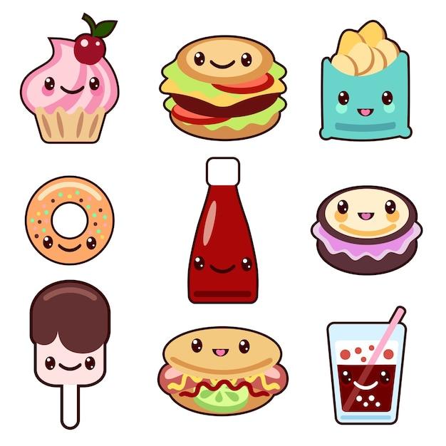Набор фаст-фуда и фруктов персонажей kawaii Бесплатные векторы