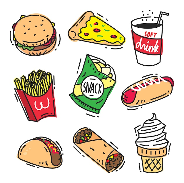 Set of fast food icon doodle isolated on white background ...