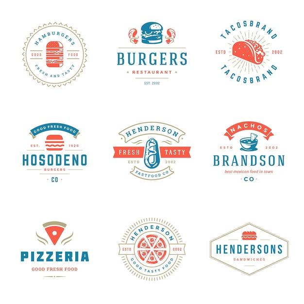 ファーストフードやハンバーガーショップのロゴのセット Premiumベクター