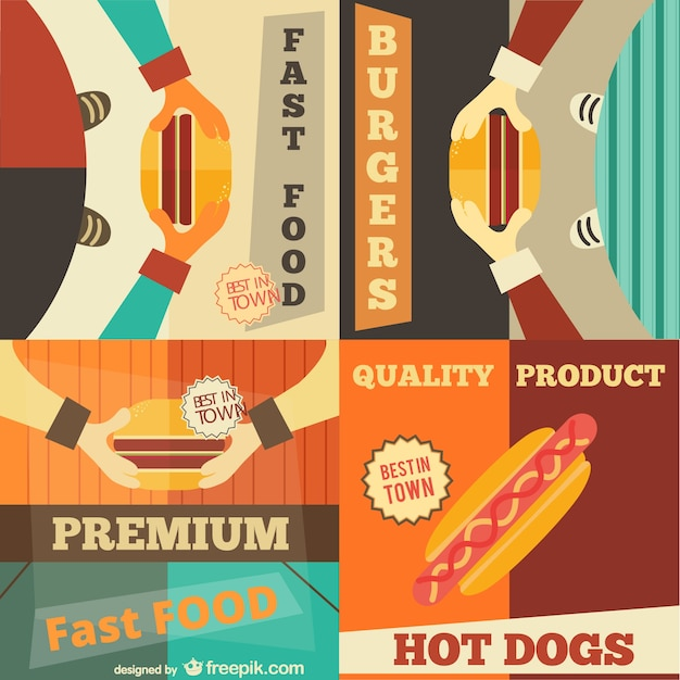 set of fast food retro posters vector free download