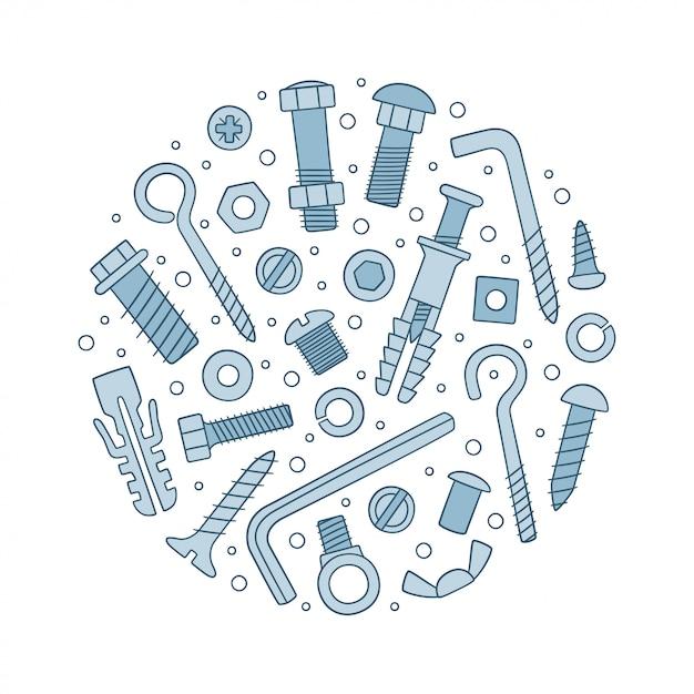 ファスナーのセットです。落書きスタイルのボルト、ネジ、ナット、ダボ、リベット。 Premiumベクター