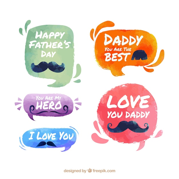 Set of father's day badges in watercolor style Free Vector