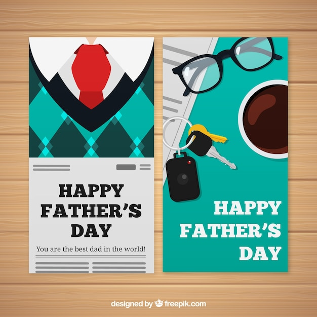 Set of father\'s day banners with clothes in\ flat style