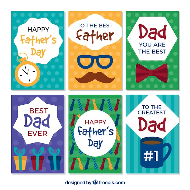 Set of fathers day greeting cards in flat design vector free download set of fathers day greeting cards in flat design free vector m4hsunfo
