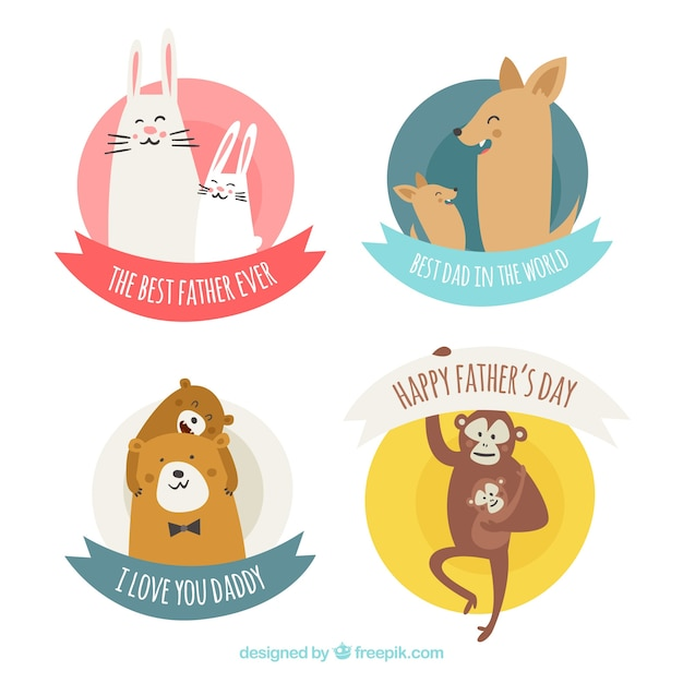 Set of father\'s day labels with cute animals in\ flat style