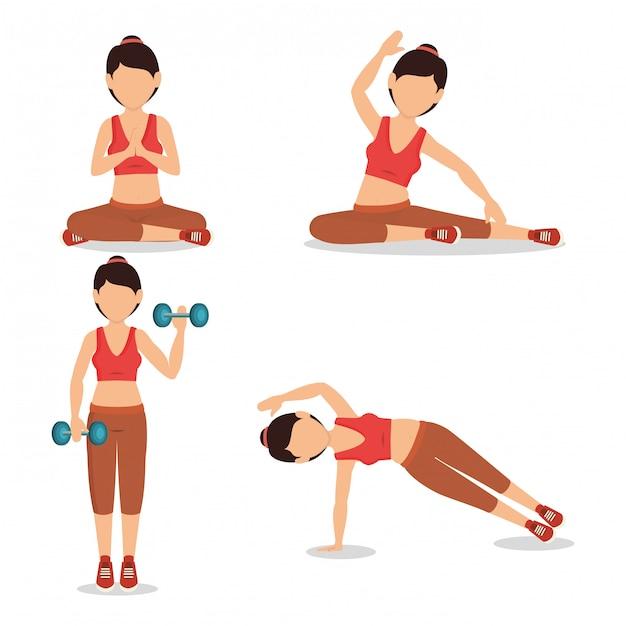 Набор символов спортсменка практикующих упражнение иллюстрации Бесплатные векторы