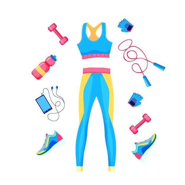 여성 피트니스 장비 상단, 레깅스, 아령, 로프 및 운동화 포스터 템플릿 세트 프리미엄 벡터