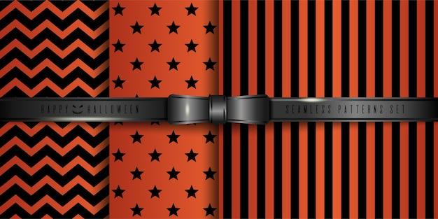 ハロウィーンのためのお祝いの黒とオレンジのシームレスなパターンのセット。 Premiumベクター