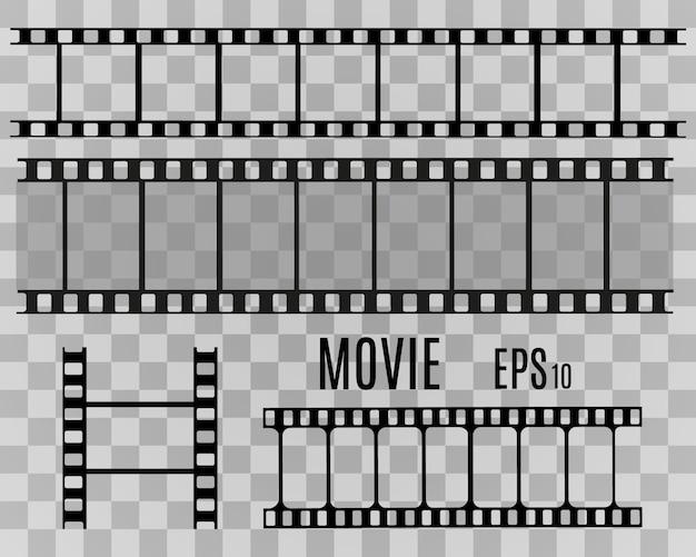 透明な背景に分離されたフィルムストライプのセット。フィルムストリップロール。映画のベクトルの背景。 Premiumベクター