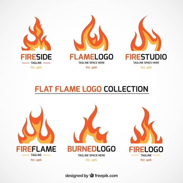 Set of fire logos Vect...K Logo In Fire