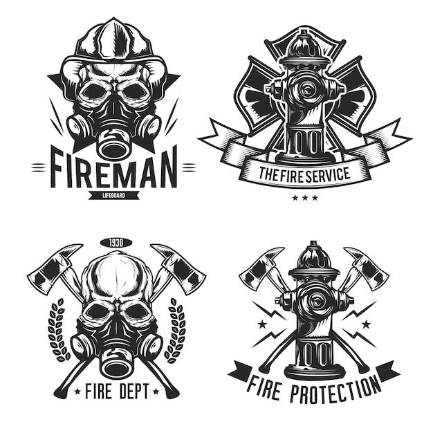 消防士の要素のエンブレム、ラベル、バッジ、ロゴのセット。 無料ベクター