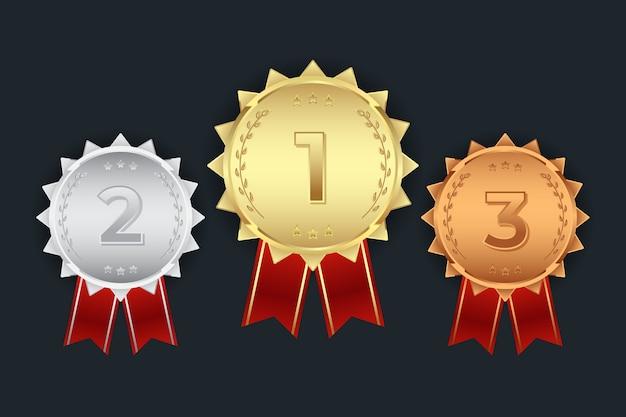 첫 번째 두 번째 세 번째 금은 동메달 세트 프리미엄 벡터