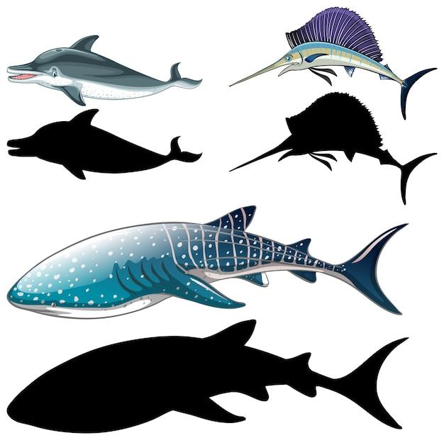 魚のキャラクターと白い背景の上のシルエットのセット 無料ベクター