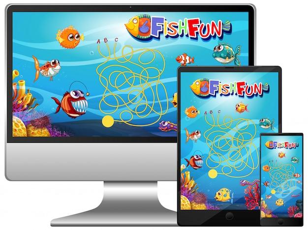 コンピューター画面上の魚ゲームのセット 無料ベクター