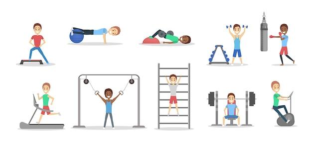 체육관에서 운동을하는 맞는 사람들의 집합입니다. 무게를 들어 올리고 심장 운동을합니다. 스포츠, 피트니스 및 건강한 라이프 스타일. 벡터 평면 그림 프리미엄 벡터