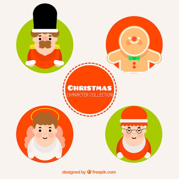 Set of five christmas characters in flat design