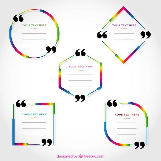 Set of five colorful quote frames