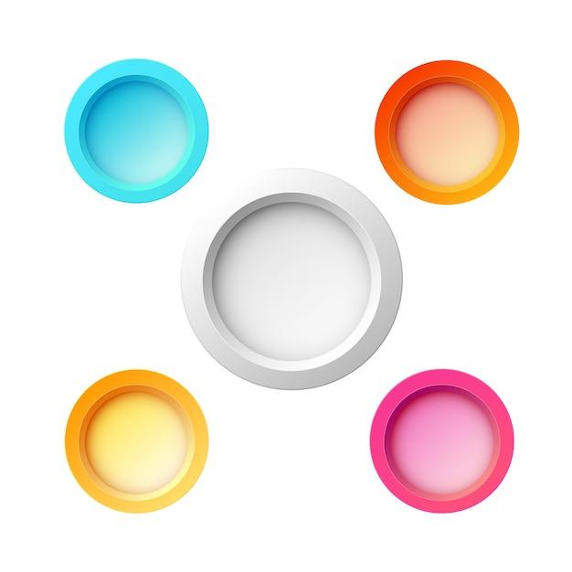 Набор из пяти красочных круглых кнопок для веб-сайта, интернета или приложений разных цветов и размеров Бесплатные векторы