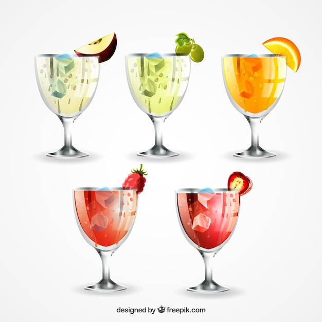 Set of five realistic drinks with tasty\ fruits
