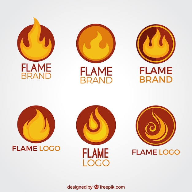 set of flame logos in orange and yellow tones vector