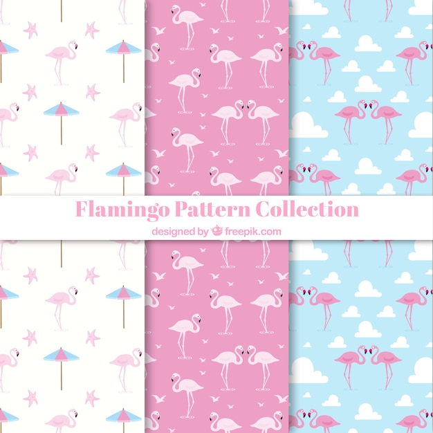 Set of flamingos patterns with beach\ elements