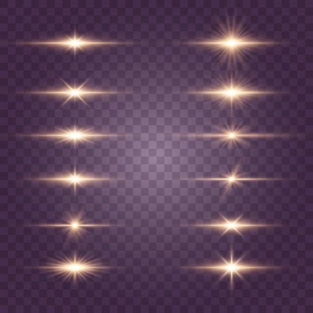 フラッシュ、ライト、スパークルのセット。明るい金色の閃光とまぶしさ。抽象的な金色の光は、明るい光線を分離しました。 Premiumベクター