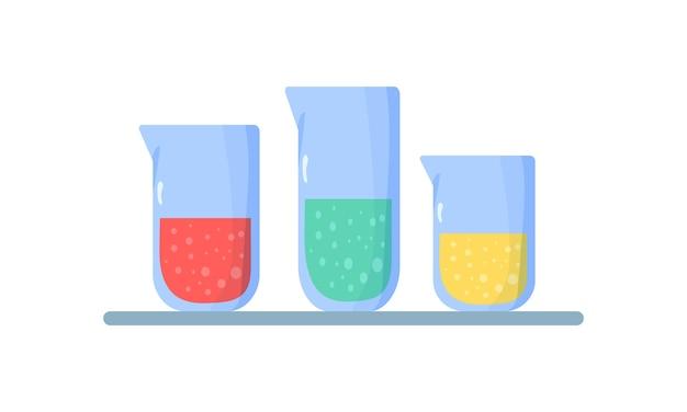フラスコのセット。化学液体の入ったフラスコ Premiumベクター