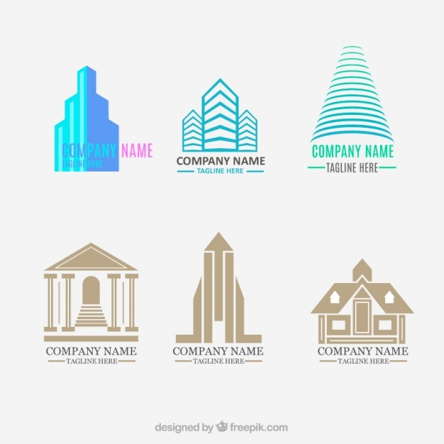 Set of flat and modern real estate logos