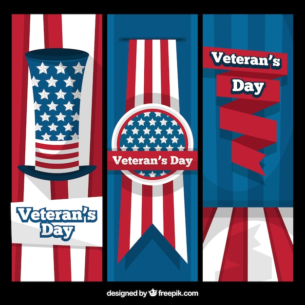 Set of flat banners for veterans day