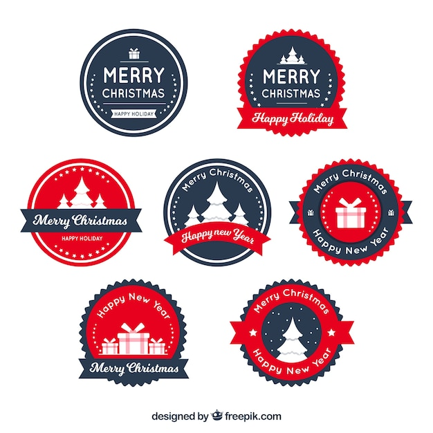 Set of flat christmas badges in dark blue and red