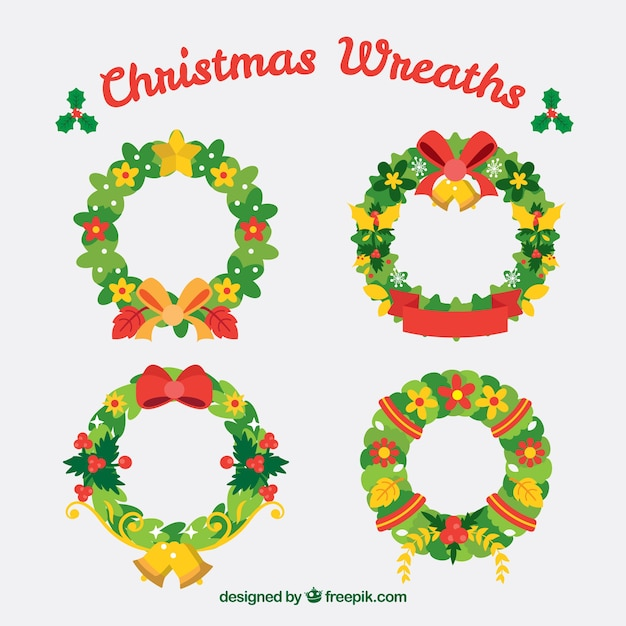 Set of flat christmas wreaths