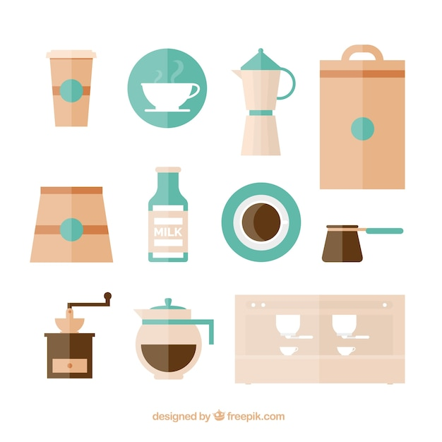 set of flat coffee objects vector free download