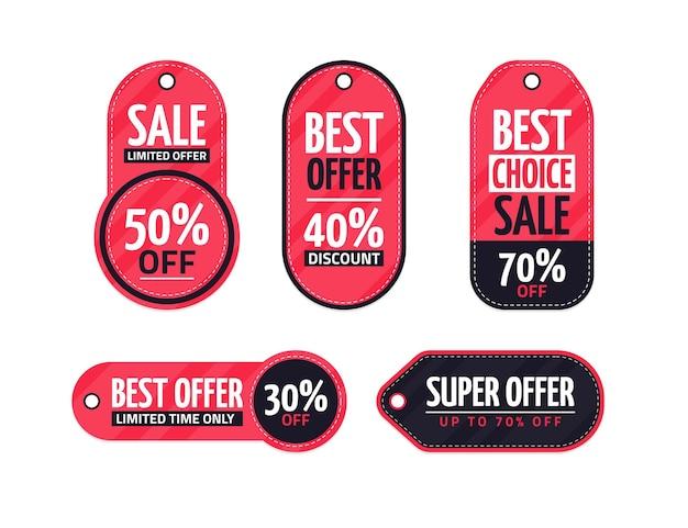 평면 디자인 판매 태그 집합 무료 벡터