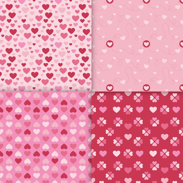 평면 디자인 발렌타인 패턴의 집합 무료 벡터