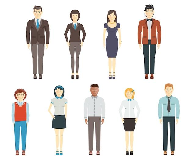 白地にフルレングスのオフィスやフォーマルな服を着ている企業の従業員のグループまたはチームの若い男性と女性のフラットな人間のキャラクターのセット 無料ベクター