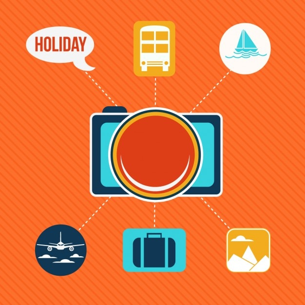 Set of flat icons for holiday and travel